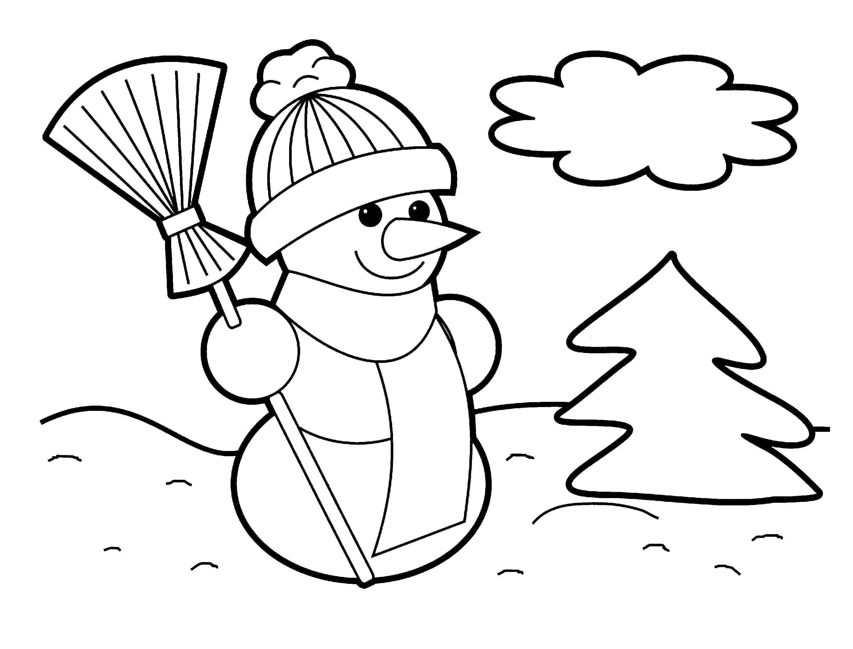 Раскраска Снеговик и елка. Скачать снеговик, шапка, метла, елка.  Распечатать ,зима,