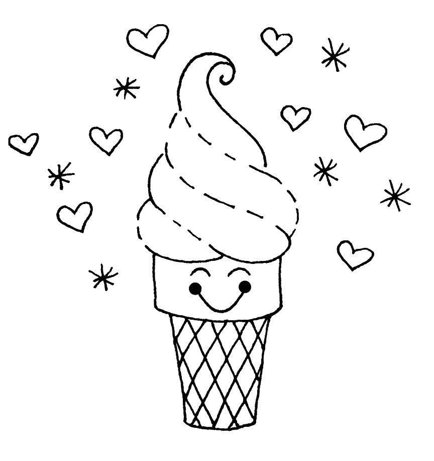 Раскраска Стаканчик с мороженым и сердечки Скачать мороженое, стакан, сердечки.  Распечатать ,мороженое,