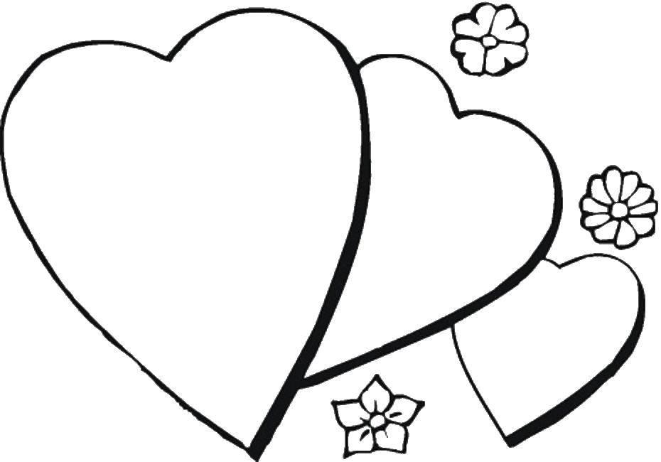 Раскраска Три сердца и цветы. Скачать сердце, цветы.  Распечатать ,Сердечки,