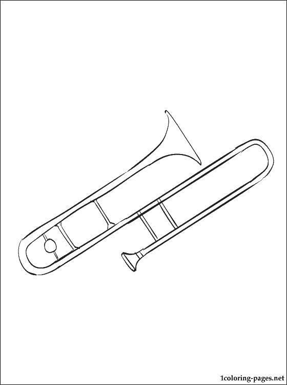 Раскраска Труба Скачать труба, музыка, интсрумент.  Распечатать ,Музыка,