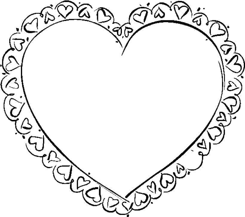 Раскраска Валентика с кружевами. Скачать валентинка, сердце, узоры.  Распечатать ,День святого валентина,