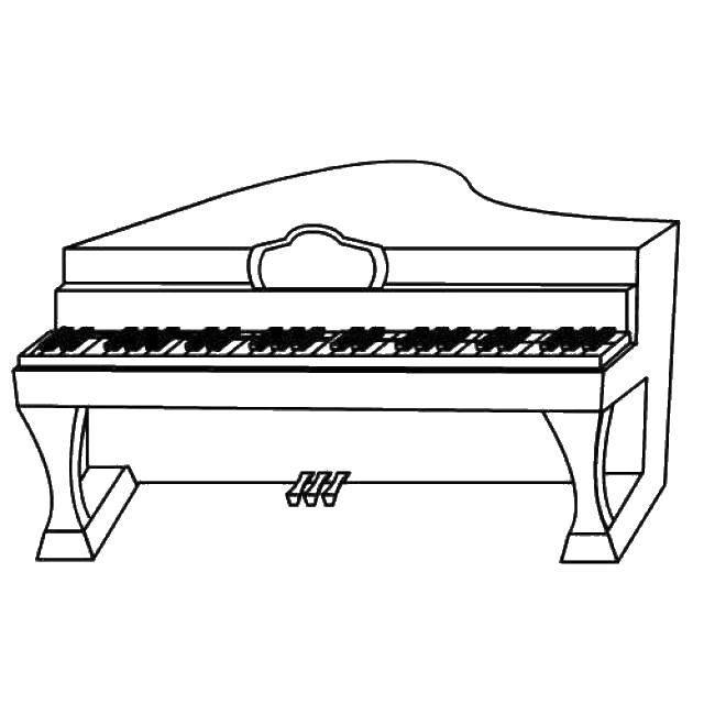 Название: Раскраска Простое пианино. Категория: Музыка. Теги: Музыка, инструмент, музыкант.