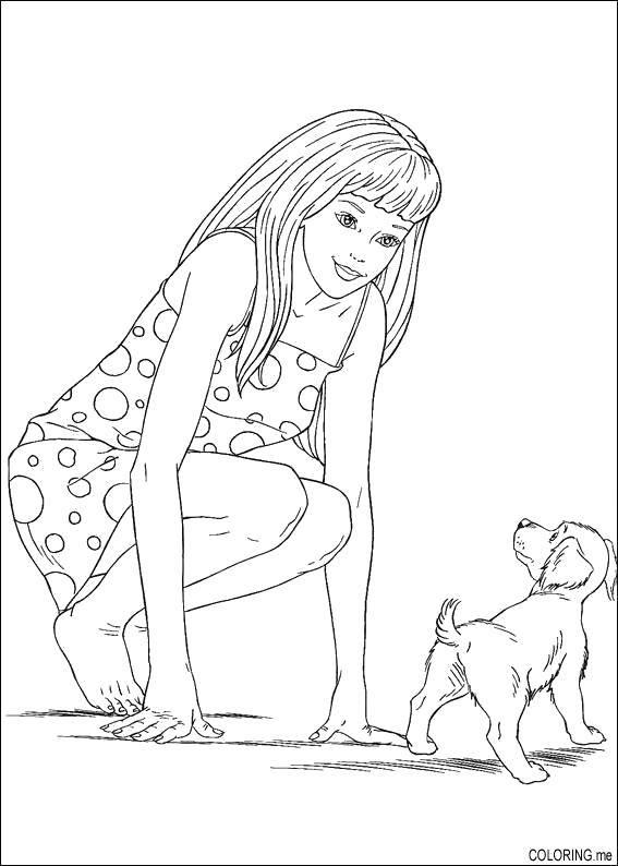 Раскраска Барби со своим щенком. Скачать Животные, собака.  Распечатать ,домашние животные,
