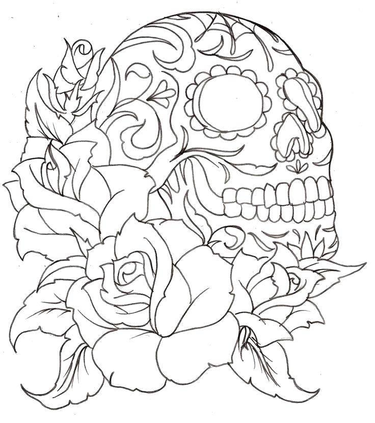 Раскраска Череп на розах. Скачать Череп.  Распечатать ,Череп,