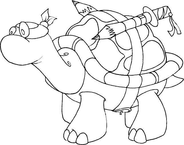 Раскраска Черепашка ниндзя и карандаши Скачать черепаха, ниндзя, карандаши.  Распечатать ,черепашки ниндзя,