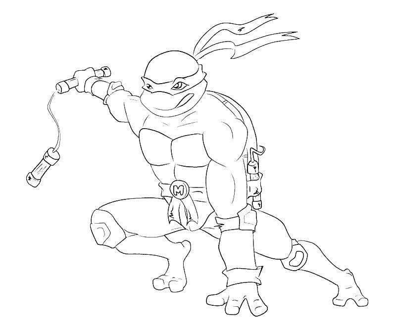 Раскраска Черепашка ниндзя в сражении Скачать черепашки, мультики, черепашки ниндзя.  Распечатать ,черепашки ниндзя,
