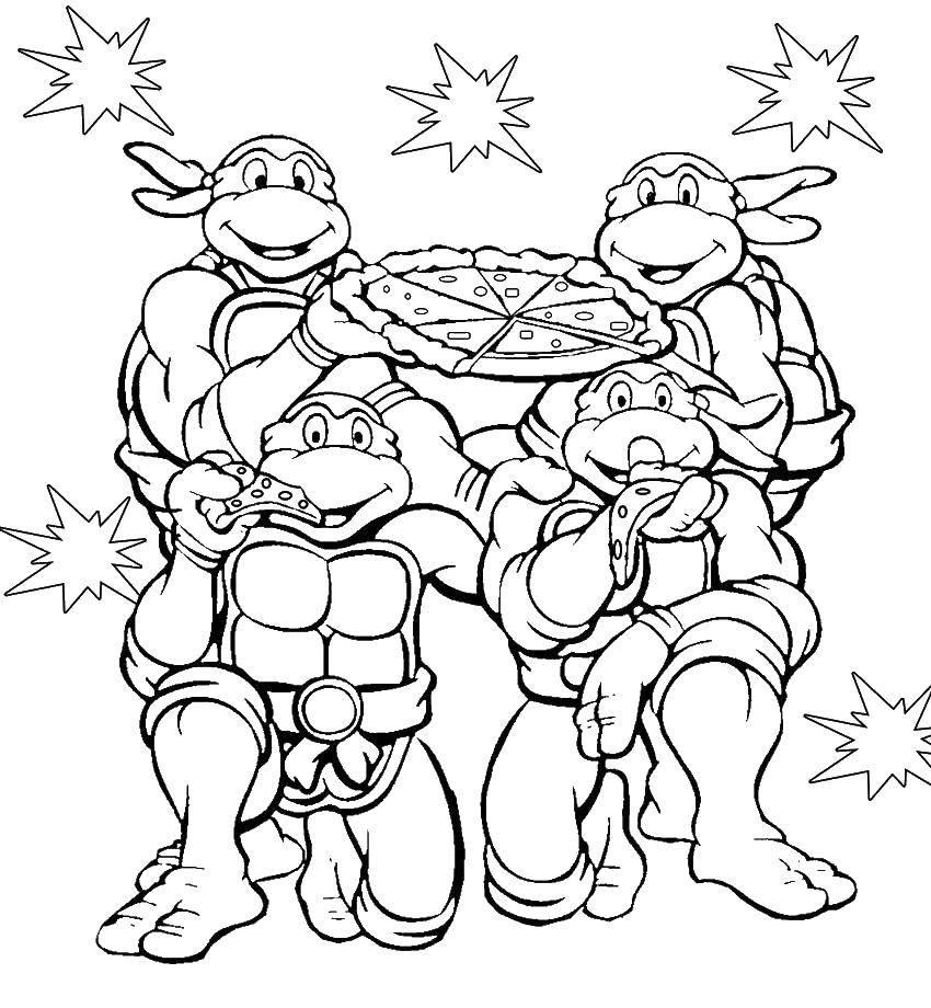 Раскраска Черепашки ниндзя с пиццей Скачать ,черепашки ниндзя, мультфидьмыЮ пицца,.  Распечатать