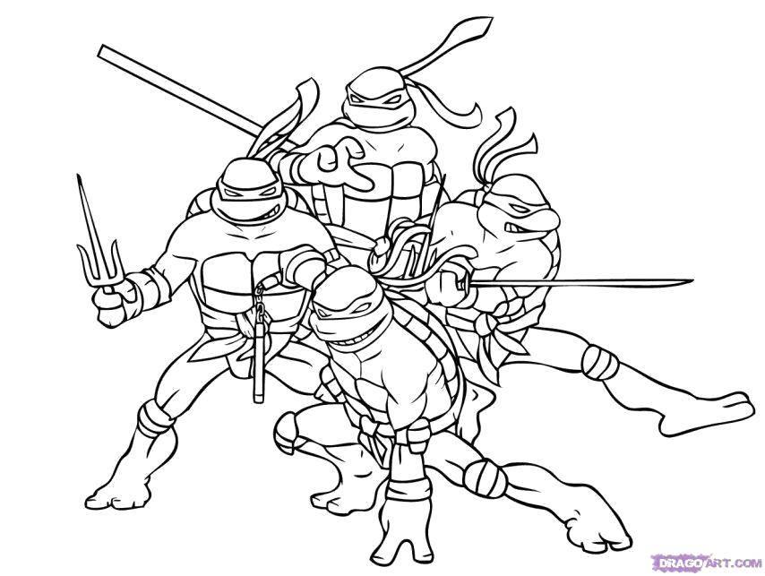 Раскраска Черепашки ниндзя вместе Скачать Комиксы, Черепашки Ниндзя.  Распечатать ,черепашки ниндзя,