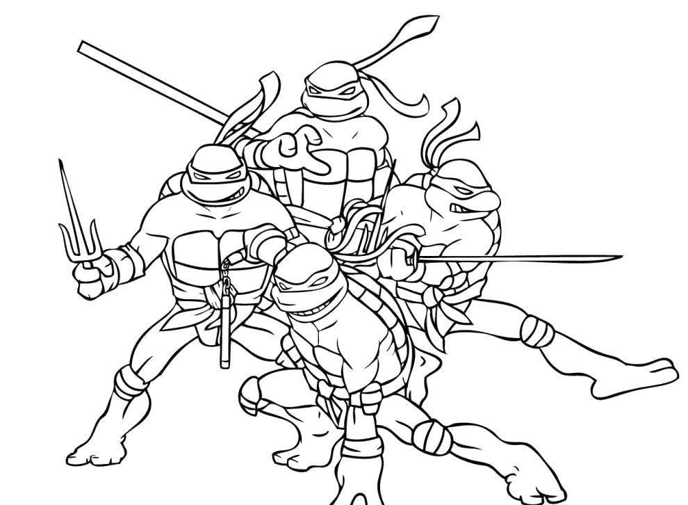 Раскраска черепашки ниндзя Скачать мультфильмы, кирби.  Распечатать