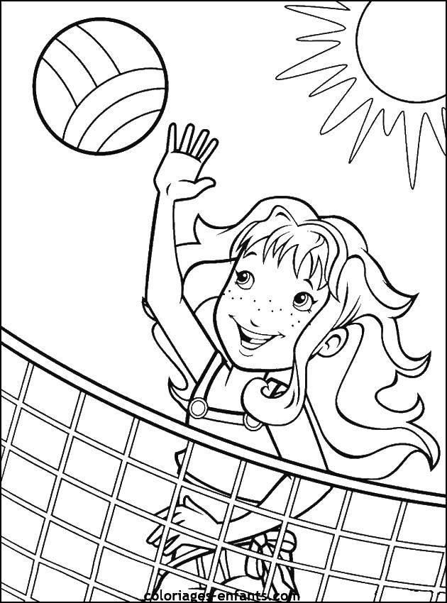 Раскраска Девочка и волейбольный мяч Скачать девочка, мяч, сетка, солнце.  Распечатать ,Спорт,