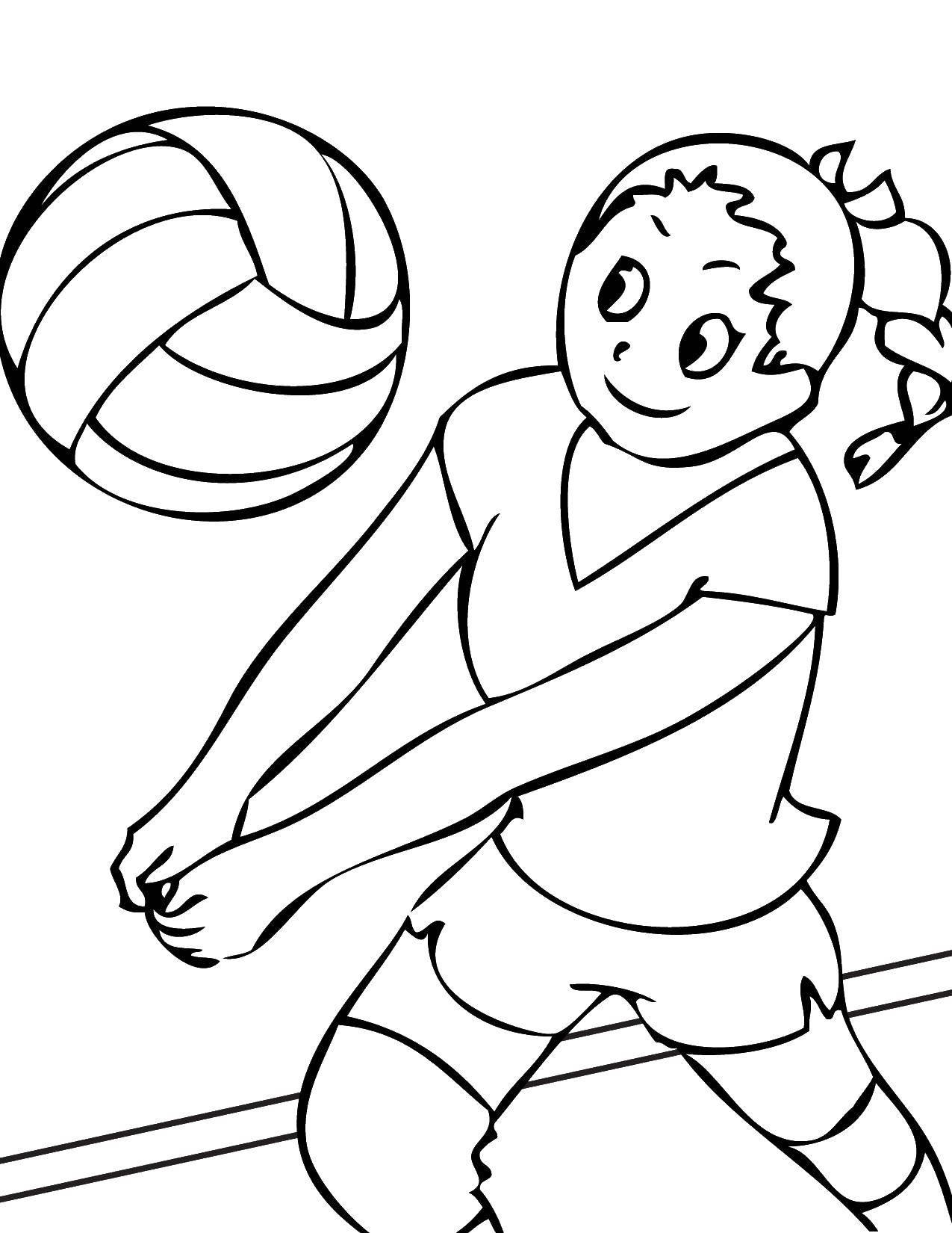 Раскраска Девочка волейболистка Скачать девочка, мяч, волейбол.  Распечатать ,Спорт,