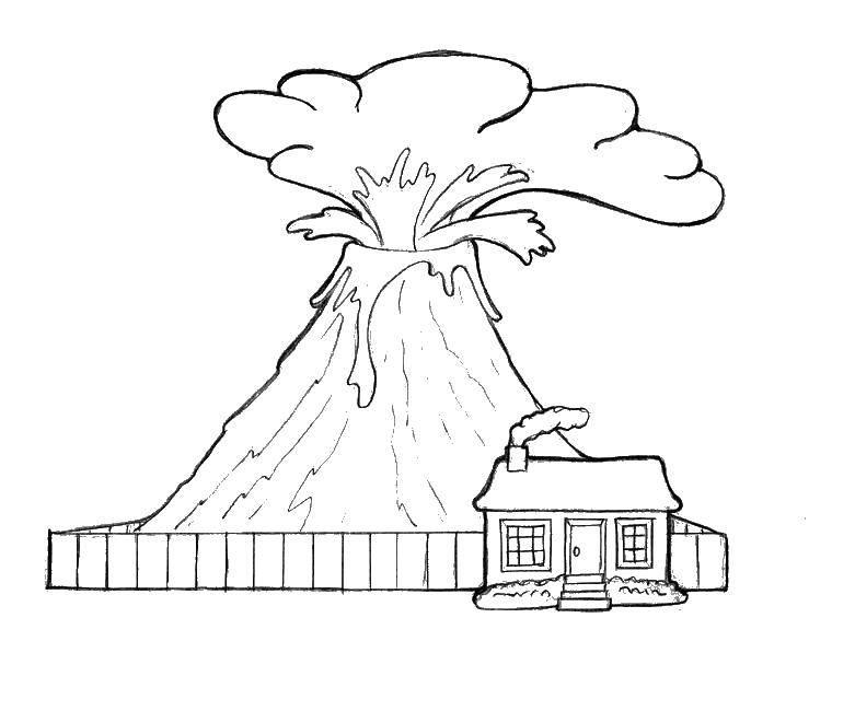 Название: Раскраска Дом у вулкана. Категория: Вулкан. Теги: Вулкан, природа.