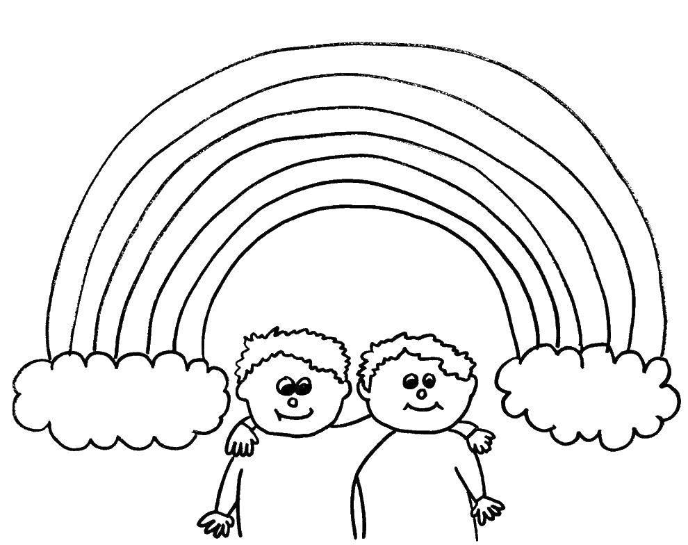 Раскраска Два мальчик и радуга. Скачать мальчики, радуга, облака.  Распечатать ,Радуга,