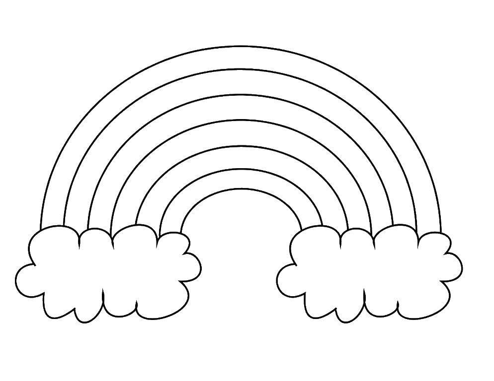 Раскраска Два облака и радуга. Скачать Радуга, облака.  Распечатать ,Радуга,