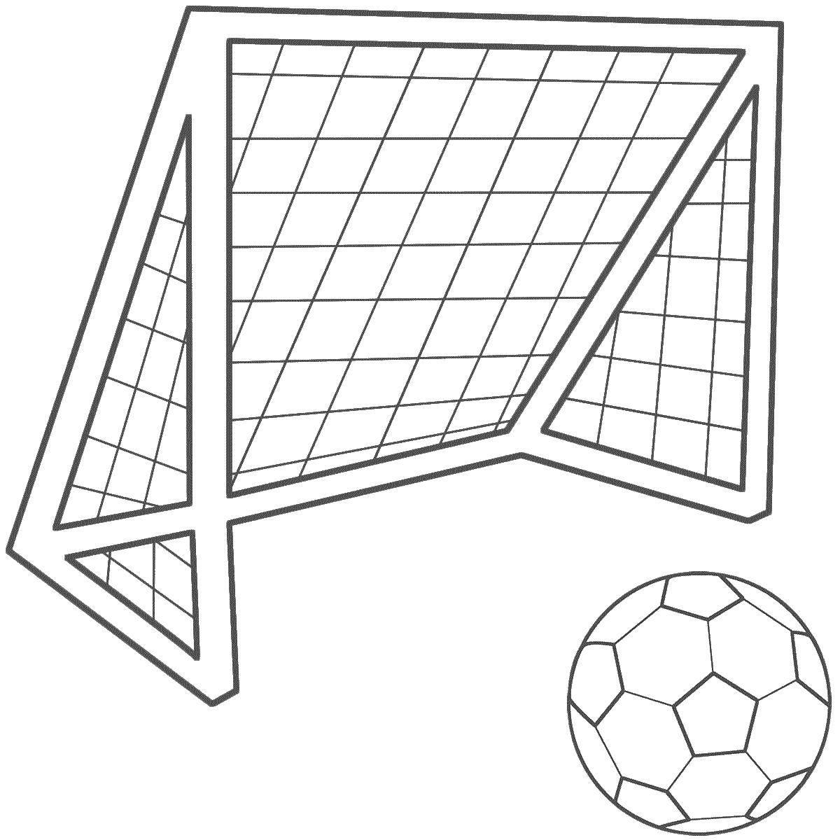 Раскраска Футбольный мяч и ворота Скачать Спорт, футбол, мяч, игра.  Распечатать ,Спорт,