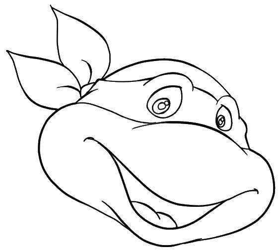 Раскраска Голова черепашки ниндзя в маске Скачать голова, черепаха, ниндзя.  Распечатать ,черепашки ниндзя,