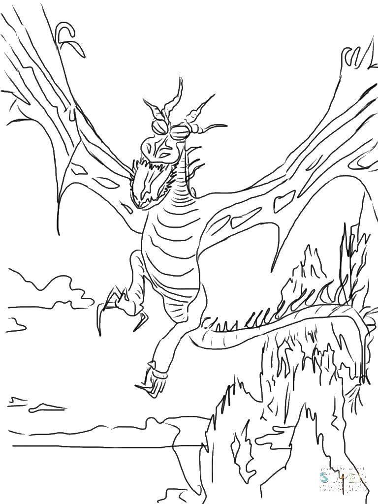Раскраска Горы и дракон. Скачать дракон, горы, крылья.  Распечатать ,дракон,