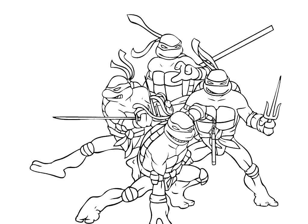 Раскраска Команда смелых черепашек ниндзя Скачать Комиксы, Черепашки Ниндзя.  Распечатать ,черепашки ниндзя,