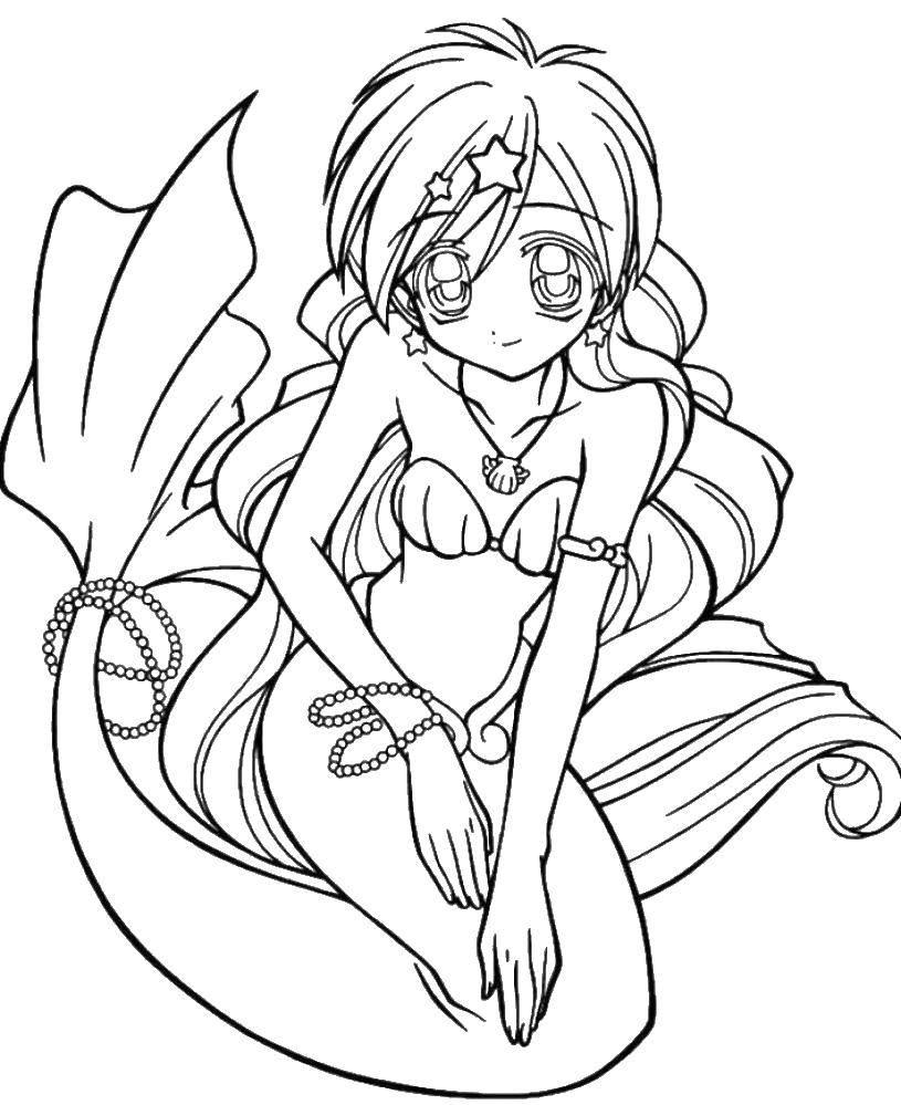 Раскраска Красивая русалка Скачать русалка, девушка, ракушка, жемчуг.  Распечатать ,Для девочек,