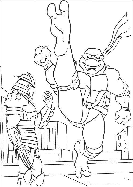 Раскраска Крэнг и черепашка ниндзя Скачать черепаха, ниндзя, крэнг.  Распечатать ,черепашки ниндзя,