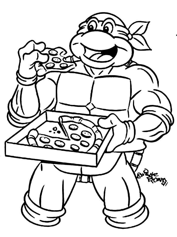 Раскраска Леонардо кушает пиццу Скачать Комиксы, Черепашки Ниндзя.  Распечатать ,черепашки ниндзя,