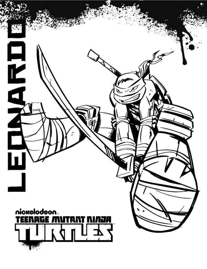 Раскраска Леонардо с острым мечом Скачать Комиксы, Черепашки Ниндзя.  Распечатать ,черепашки ниндзя,