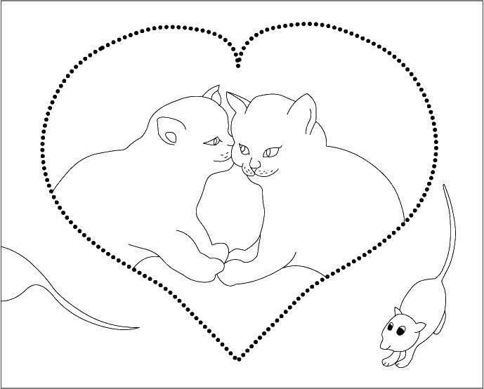 Раскраска Коты и котята Скачать ,цвета, предметы,.  Распечатать