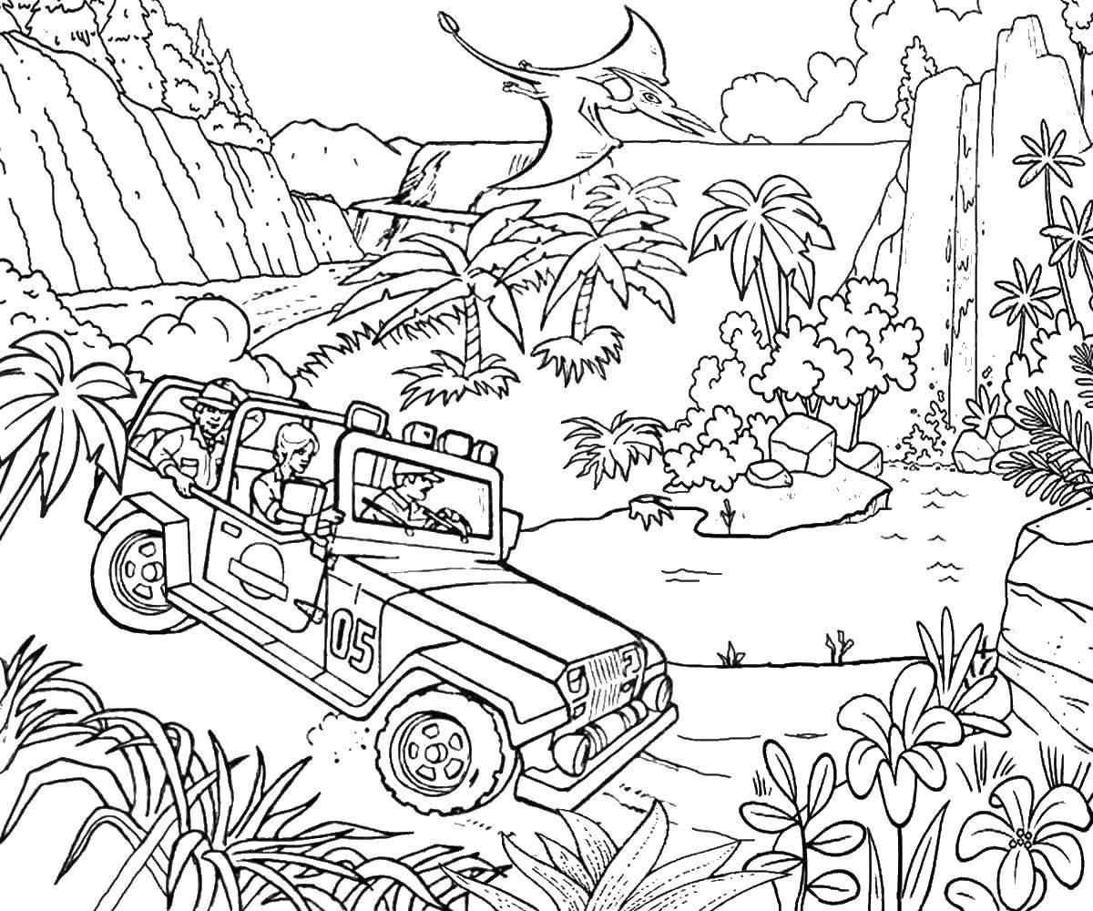 Раскраска Маина в парке юрского периода. Скачать парк юрского периода, динозавры, машина.  Распечатать ,парк юрского периода,