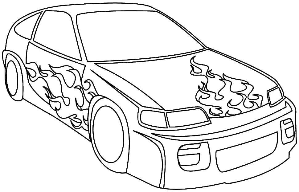 Раскраска Машина с языками пламени Скачать машина, колеса, пламя.  Распечатать ,машины,