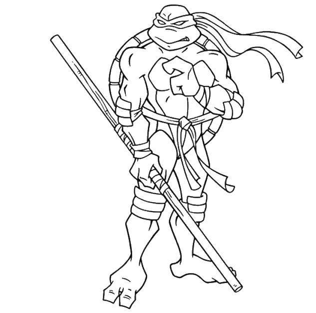 Раскраска Микеланджело в маске Скачать Микеланджело, маска, палка.  Распечатать ,черепашки ниндзя,