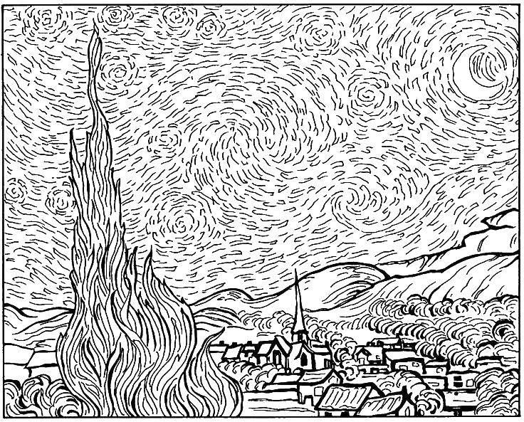 Раскраска Мир ван гога Скачать Картина.  Распечатать ,раскраски,