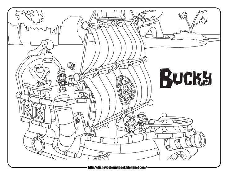 Раскраска Пиратский корабль. Скачать корабль, пираты, парус.  Распечатать ,Пираты,