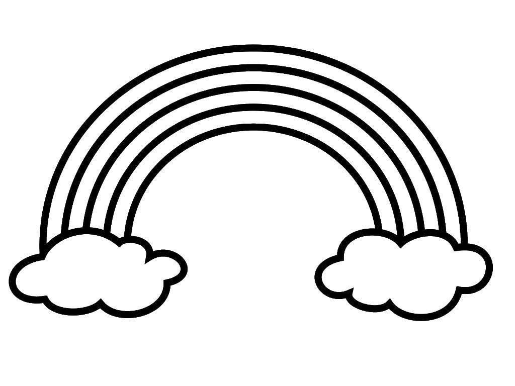 Раскраска Радуга и два облачка. Скачать радуга, облака.  Распечатать ,Радуга,