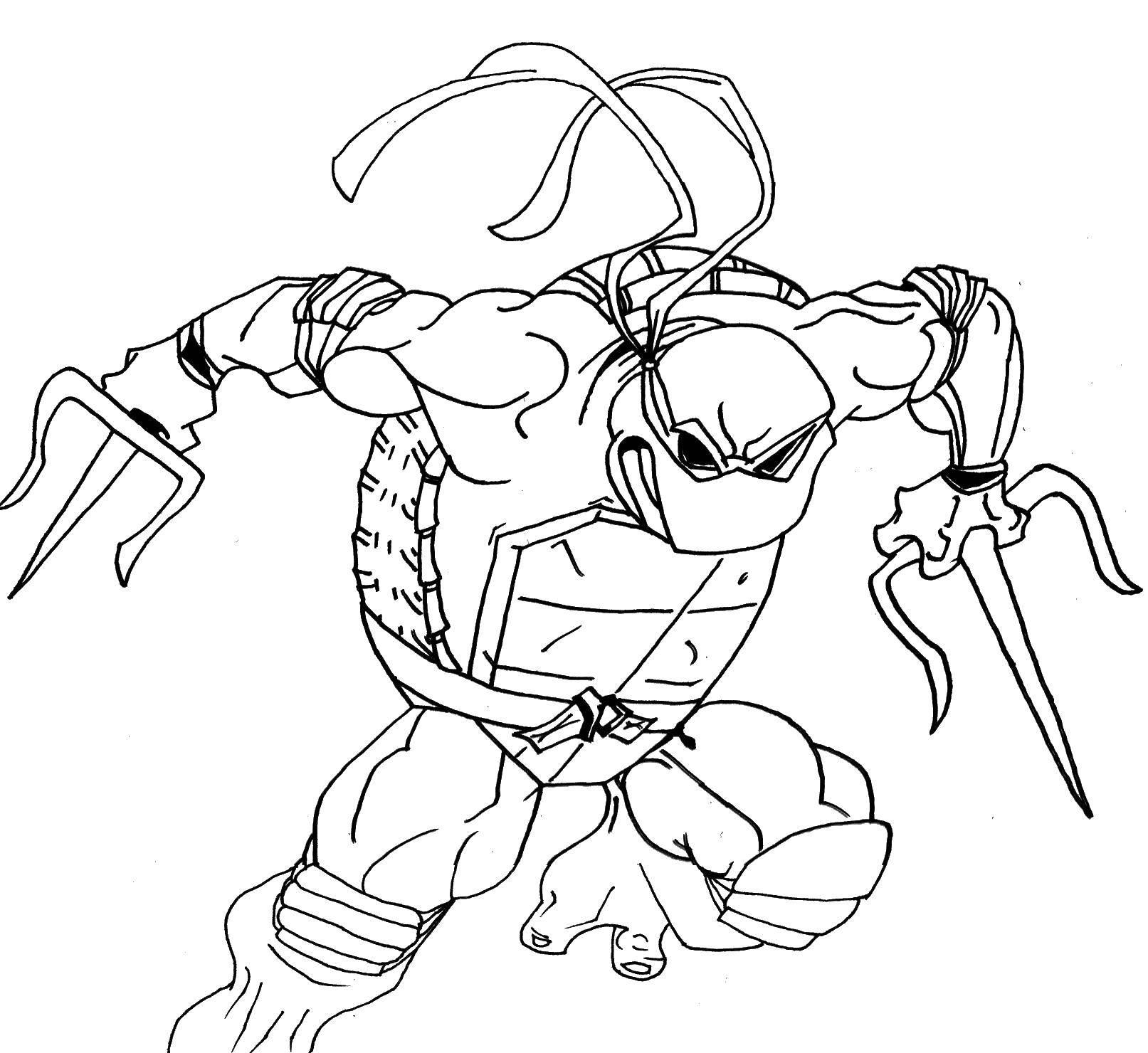 Раскраска Рафаэль нападает с мечами. Скачать Комиксы, Черепашки Ниндзя.  Распечатать ,черепашки ниндзя,