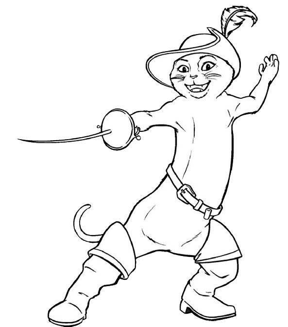 Раскраска Рисунок кот в сапогах в шляпе Скачать кошка, кот.  Распечатать ,домашние животные,