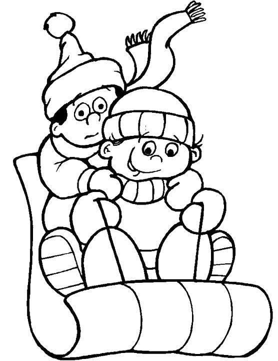 Раскраска Санки и дети. Скачать санки, дети, шапки.  Распечатать ,зима,