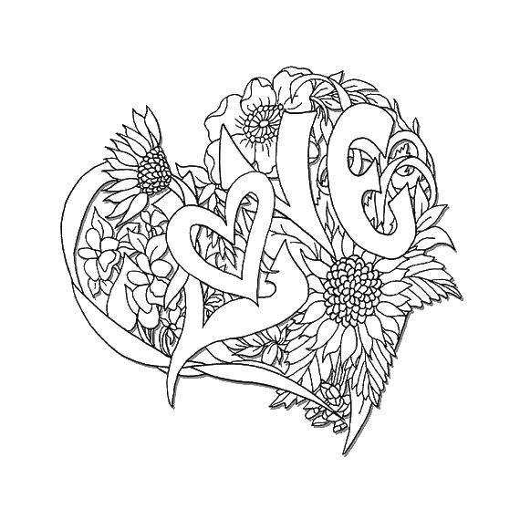 Раскраска Сердечко из цветов. Скачать сердечки, цветы, надпись.  Распечатать ,Сердечки,
