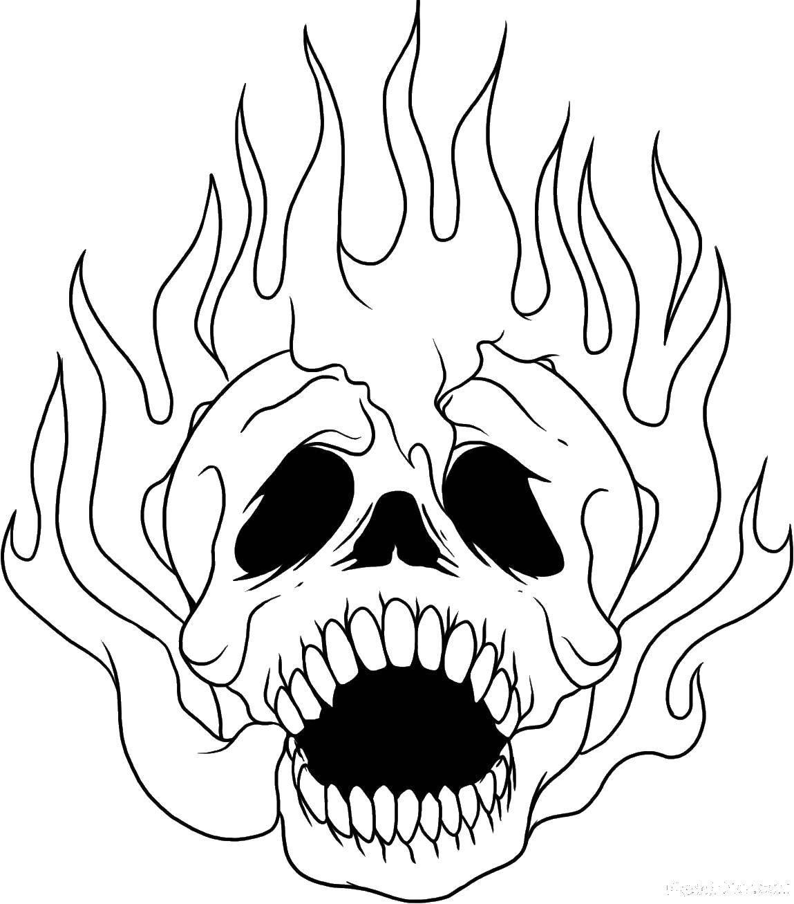 Раскраска череп Скачать ,череп, огонь,.  Распечатать