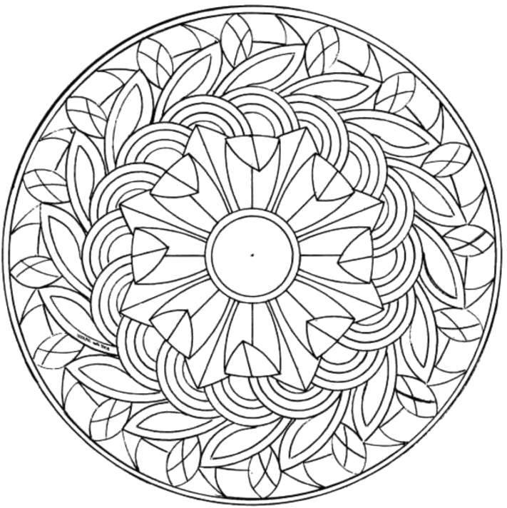 Название: Раскраска Лиственные узоры на тарелке. Категория: узоры. Теги: Узоры, цветок.