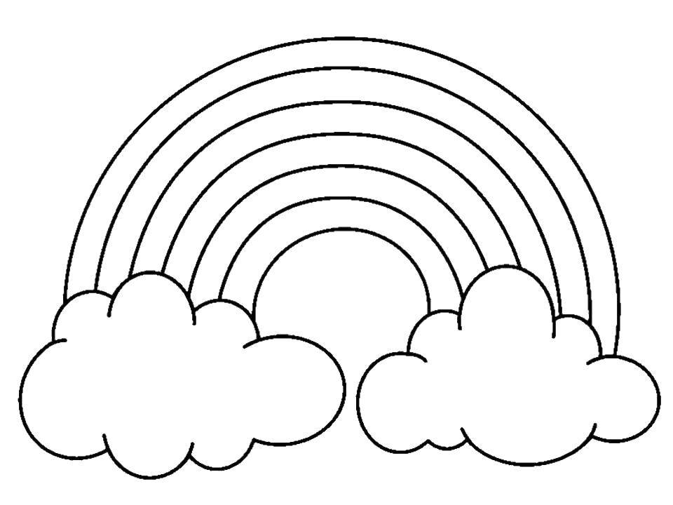 Online Coloring Pages Rainbow Coloring Page Fluffy Clouds And