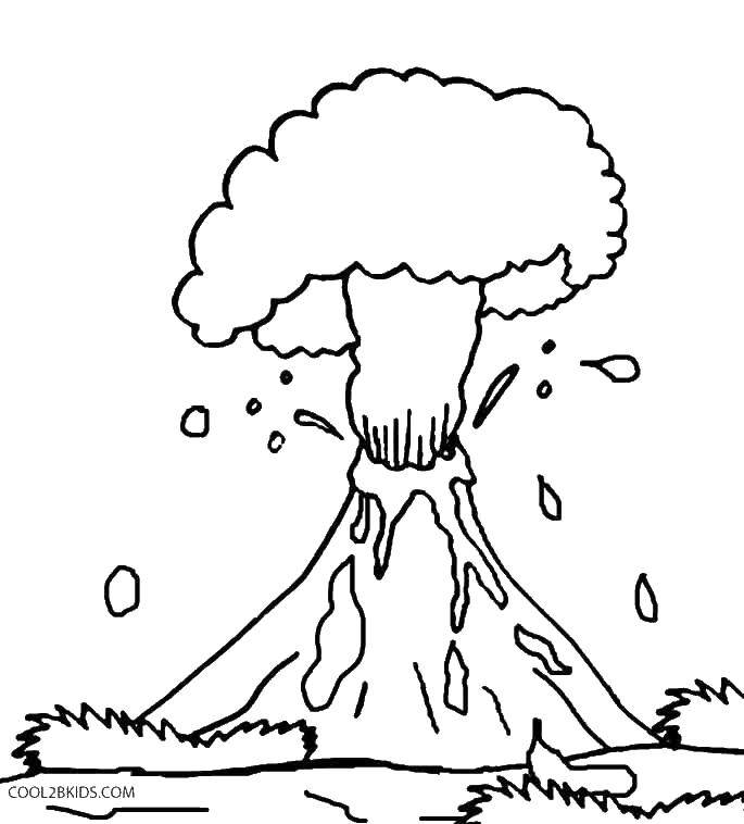 Online Coloring Pages Coloring Page The Volcano Spews Lava Volcano