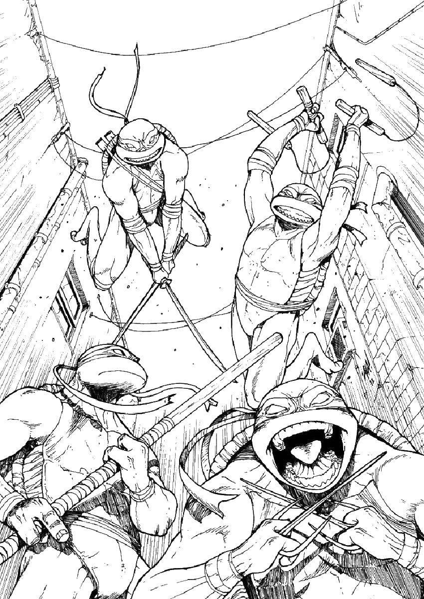 Название: Раскраска Злые черепашки. Категория: черепашки ниндзя. Теги: черепашка ниндзя, черепашки, оружие, мультики.