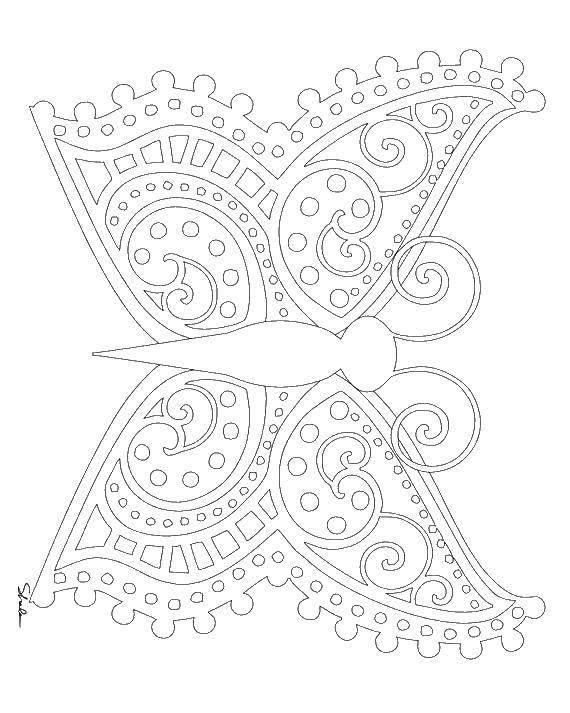 Раскраска Бабочка и крылья с узорами. Скачать бабочка, крылья, узоры.  Распечатать ,бабочки,