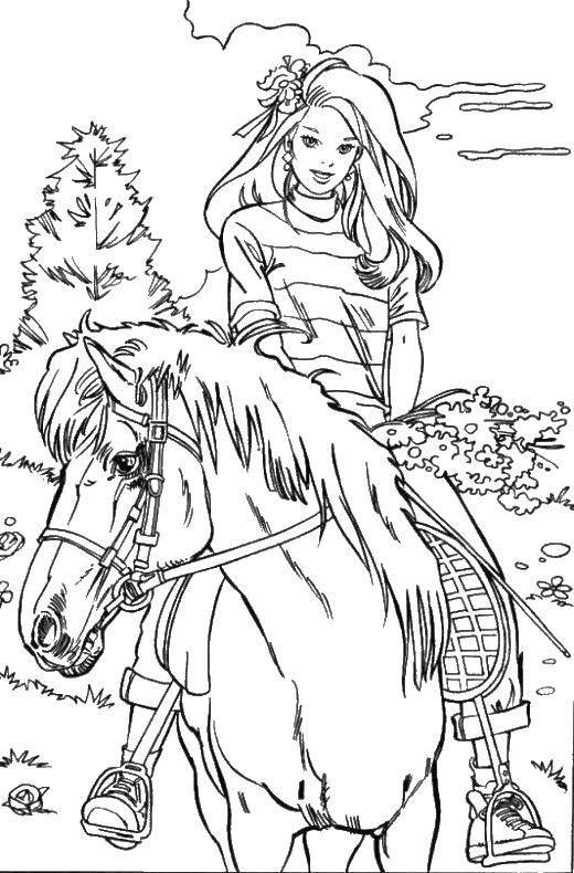 Раскраска Барби катается на лошади. Скачать Животные, лошадь.  Распечатать ,Барби,