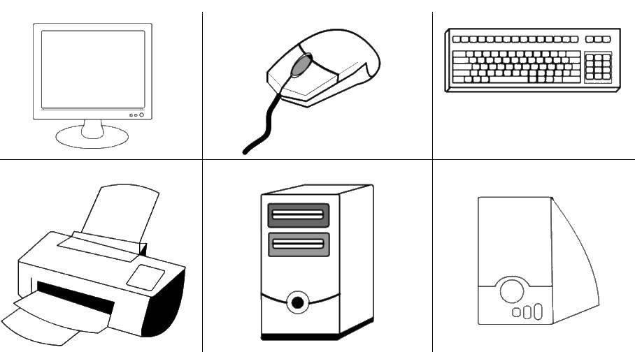 Раскраска Части компьютера Скачать ,монитор, принтер, колонки,.  Распечатать