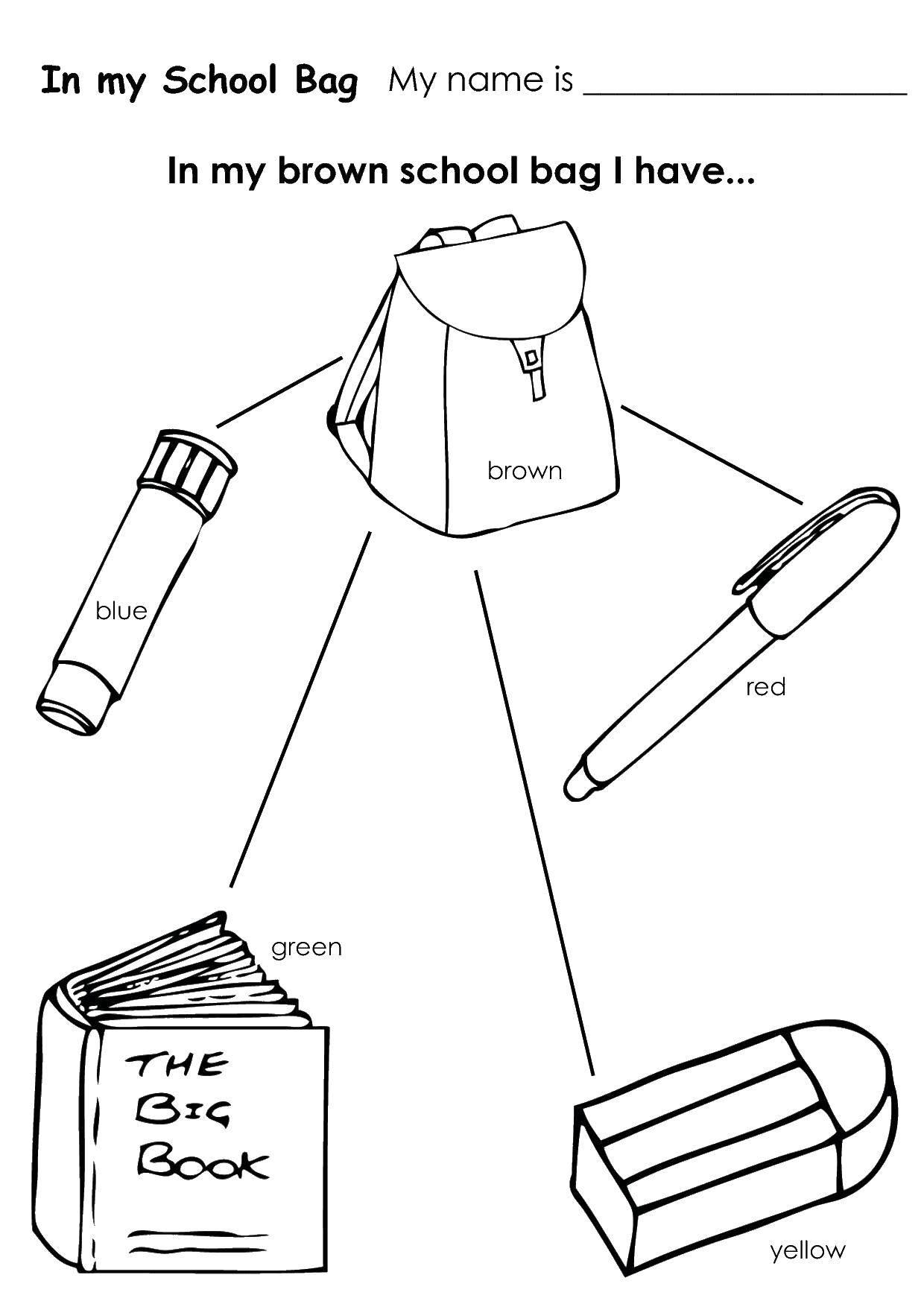 Раскраска Что я ношу в портфеле Скачать ,Школа, ученик, портфель,.  Распечатать