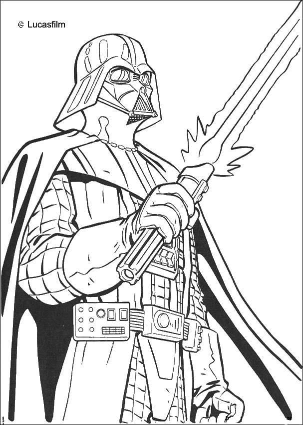 Раскраска Дарт вейдер из звездных войн с мечом Скачать Звездные Войны.  Распечатать ,космические корабли,