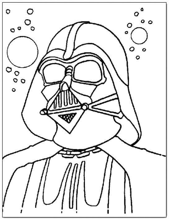 Раскраска Дарт вейдер из звездных войн в космосе Скачать Звездные Войны.  Распечатать ,космические корабли,