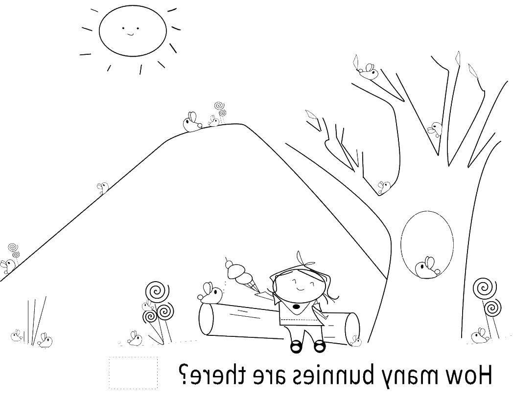 Раскраска Девочка с мороженым на бревне Скачать девочка, бревно, солнце, мороженое.  Распечатать ,дети,