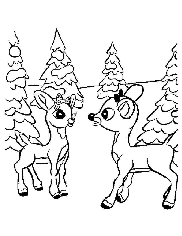 Раскраска Два олененка в лесу. Скачать олененок, бантик, елки.  Распечатать ,Животные,